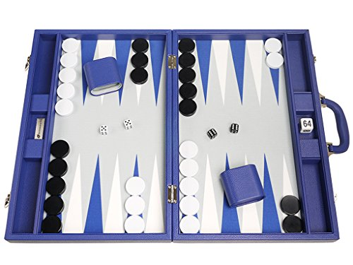 48 x 64 cm Premium Backgammon Set - Indigo Blau