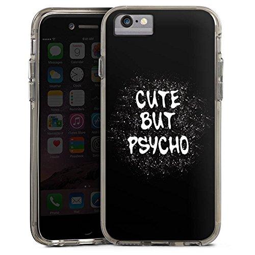 Apple iPhone 7 Bumper Hülle Bumper Case Glitzer Hülle Cute But Psycho Statement Spruch Bumper Case transparent grau