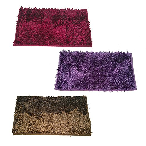 Cloth Fusion Premium Quality 3 Piece Shaggy Door Mat Set