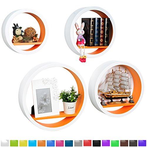 WOLTU RG9231or Wandregal Schweberegale, 4er Set Rund Regal, Retro Bücherregal, MDF Holz, DIY zum Hängen, weiß-orange
