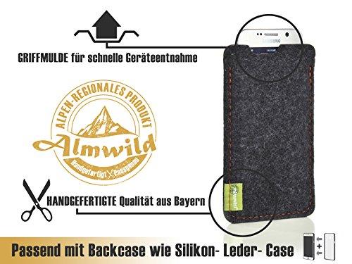 """ALMWILD® Hülle Tasche für Apple iPhone X, iPhone 10. Modell """"Dezenzi"""" in Schiefer- Grau,Schwarz aus Natur-Filz. Handyhülle Handytasche in Bayern handgefertigt Dunkelgrau"""