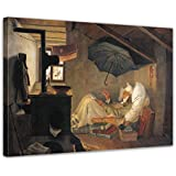 """Bilderdepot24 tela immagine Carl Spitzweg - Antichi Maestri """"Il povero poeta"""" 40x30cm - completamente incorniciati, direttamente dal produttore"""