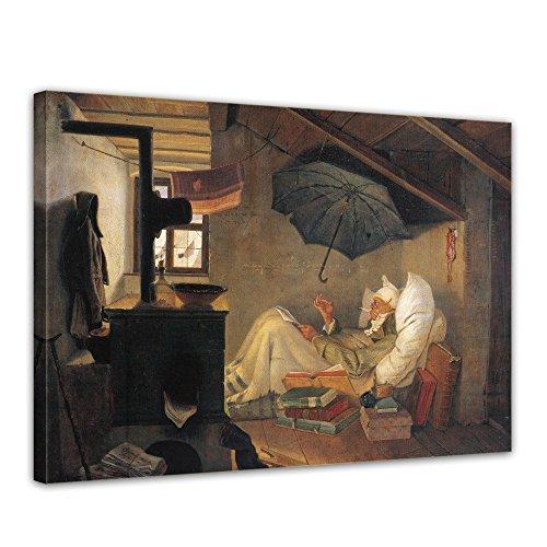 Wandbild Carl Spitzweg Der Arme Poet - 40x30cm quer - Alte Meister Berühmte Gemälde Leinwandbild...