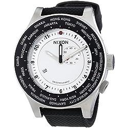 Nixon Passport White Silver Navy - Reloj de cuarzo para hombre, correa de nailon color negro