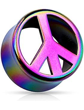 Paula & Fritz® Plug Double Flared aus Acrylharz regenbogenfarbenes Peace Symbol 10-20mm PADF03