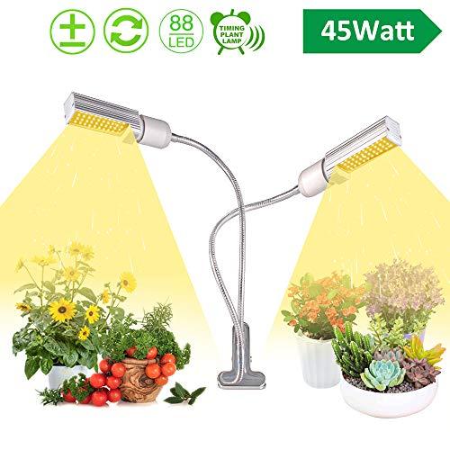 XECCON Pflanzenlampe 45W, 88 LED Grow Lampe Vollspektrum Pflanzenlicht mit Automatische Zeitschaltuhr, 3 Timer 3H/6H/12H, Dimmbar 5 Lichtstärken für Zimmerpflanzen, Hydrokultur, Gewächshäuser usw