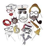 MagiDeal Party Foto props Brillen Bart Navy Sailor Photo Booth Hochzeit Zubehör Set