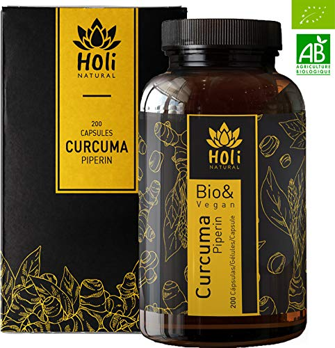 Holi Natural Biologica- 200 Capsule-1425mg di Curcuma per dose giornaliera (3 capsule) + Pepe Nero Biologico (Piperin)-Privo di qualsiasi additivo- Vegan