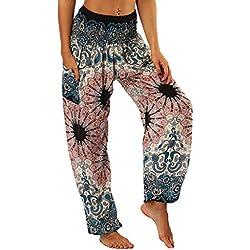 LANSKIRT_Pantalones Unisex Leggings Mujer Fitness Anchos Mujeres Hippie Pantalon de Yoga de Linterna de Cintura Alta Sueltos Impresos Hombres y Mujeres