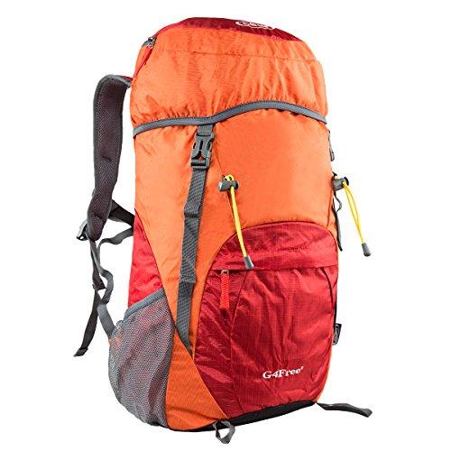 G4Free 40L Wasserdichter Ultraleicht Faltbarer Trekkingrucksack Daypack Damen Herren für Outdoor Wandern Camping Reisen F-Orange