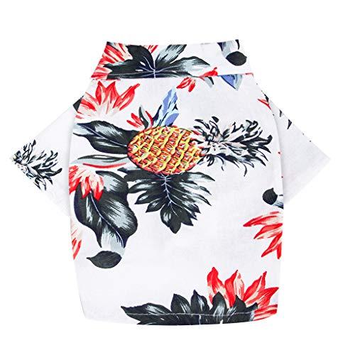 HoSayLike Haustier Hund Sommer Kleidungs Soft Cotton Und Linen Hawaii Obst Drucken Polo Hemd Rock Druckennettes Haustier Welpen T-Shirt Weste Kleidungs Hemd Hundebekleidung - Drucken Polo