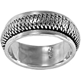 Spinning Ring - MENS Sterling Silver Ring - Spins Stress Ring - Spinner Band - Sizes R - Z+1 Available