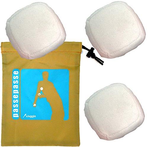 Passe Passe Kit 3 Bälle Zum Jonglieren, Jonglierbälle -6 Multiplex Synthetischen Wildleder Platten 90g Weiß (Kit Schwarz Wildleder)