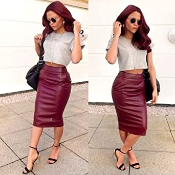 River Island Leather-Look Pencil Skirt UK SIZE 6: Amazon.co.uk ...