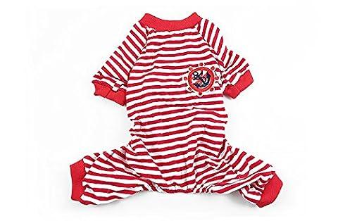 Fully Haustier Hunde Katze Pyjamas Schlafanzug Hundebademantel Bekleidung Mantel kleid Kleidung Nachtwäsche Streifen (L, Rot)