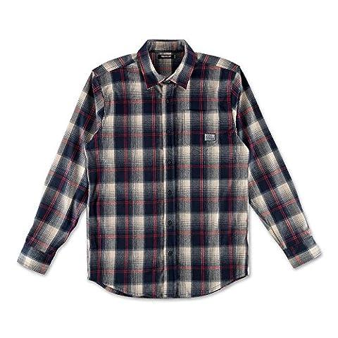 Pink Dolphin Men's Spring Plaid Flannel Buttondown Shirts Blue L
