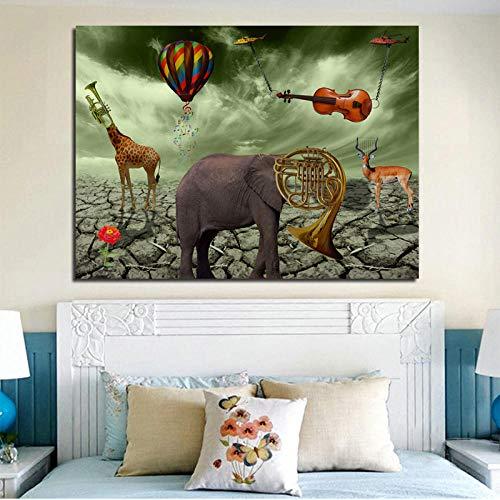Leinwand Druck Plakat Elefant Hirsch Trompete Gemälde Leinwand Gedruckt Wandkunst Drucke Poster Für Wohnzimmer Tier Cuadros Wohnkultur