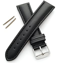 Genuine Leather Watch Strap - Padded and Stitched (18mm - Black - M)