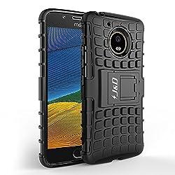 J&D Kompatibel für Moto G5 Hülle, [Standfuß] [Doppelschicht] [Heavy-Duty-Schutz] Genaue Passform Hybride Stoßfest Schutzhülle für Motorola Moto G5 - [Nicht kompatibel mit Moto G5 Plus] - Schwarz