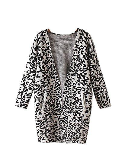Molly Donna Leopard Modello V Collo Lungo Maglione Cappotto Come Immagine 2