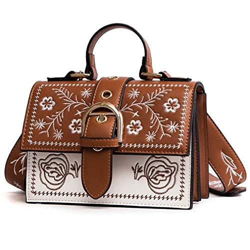 Nuanxin Tasche Weiblich, Handtasche Bestickt Kleine Quadratische Tasche, Umhängetasche, Braun, 20 * 14 * 8 cm U10