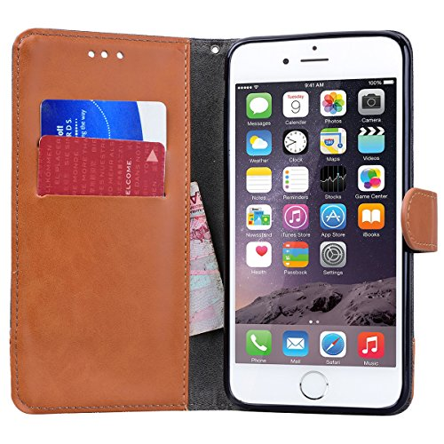 SMART LEGEND Lederhülle für iPhone 6S Plus/iPhone 6 Plus Hülle Ledertasche Zwei Farben Muster Schutzhülle Retro Premium PU Leder mit Handschlaufe Flip Wallet Case Protective Cover Innere Weiche Siliko Schwarz