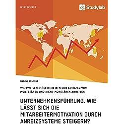 Unternehmensführung. Wie lässt sich die Mitarbeitermotivation durch Anreizsysteme steigern?: Wirkweisen, Möglichkeiten und Grenzen von montetären und nicht-monetären Anreizen