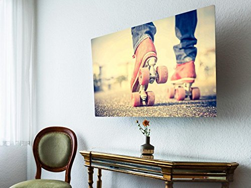 banjado screencover - Abdeckung für Ihren Fernseher, Alle Zollgrößen möglich, Material Hartschaum Schwarz, mit Motiv Rollschuhe, Größe:22'' TV (61cm x 39cm)