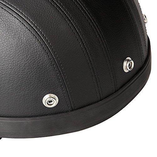 KKmoon Motorrad Scooter gesichtsoffen halbe Leder Helm mit Visier UV-Schutzbrillen Retro Vintage-Stil 54-60cm(Schwarz) - 9