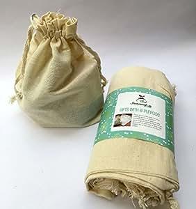 "Stonesoup Gift Cum Fridge Bags Set Of 12: 8""X 10"" Kora Cotton Draw-String Goody Bags - White"