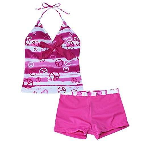 iiniim Girls' 2 Piece Halter Tankini Set Swimwear Swimsuit Beachwear Peace Signs Hot Pink 10 Years