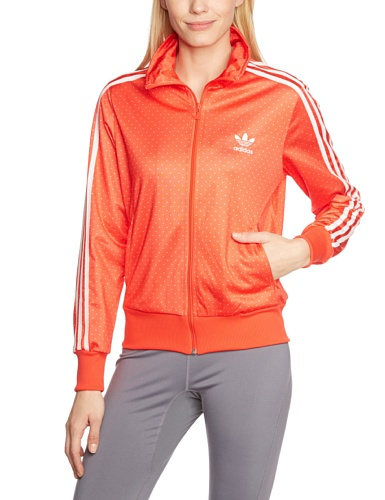 adidas, Giacca da allenamento Donna Firebird Graphic, Arancione (Hi-Res Orange/Running White), 46