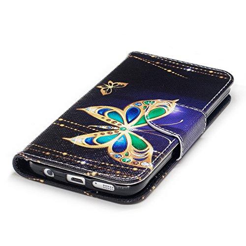 Cozy Hut Schutzhülle / Cover / Hülle / Handyhülle / Etui für Samsung Galaxy S7 Bunt Muster Design Folio PU Leder Tasche Case Cover im Bookstyle mit Standfunktion Kredit Kartenfächer mit Weich TPU Inne Gold Schmetterling