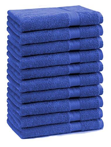 BETZ Lot de 10 Serviettes débarbouillettes lavettes Taille 30x30 cm en 100% Coton Premium Color Bleu