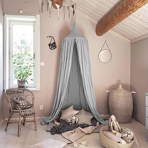 Tyhbelle Baby Baldachin Betthimmel Kinder Babys Bett Baumwolle Hängende Moskiton für Schlafzimmer Ankleidezimmer Spiel Lesen Zeit Höhe 240 cm Saumlänge 270cm (Grau)
