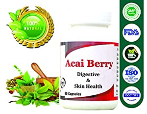 Digestive Capsule for Overall Health Acaiberry Capsule for Skin Care 500 Mg, 60 Capsules - Pack Of 1