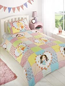 Kids Childrens Girls Fairy Patchwork Green Yellow Single Bed Size Duvet Cover Quilt Set