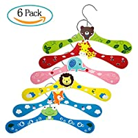 Diealles 6PCS Baby Kids Cartoon Wooden Coat Clothes Pants Hook Hanger Rack, Ideal for Children