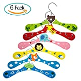 Diealles 6PCS Kleiderbügel Kinder Baby Holz Cartoon Kleiderbügel für Kinder, Niedliches Design (Löwe, Giraffe, Fuchs, Elefant, Frosch, Bär), Ideal für Babykleidung