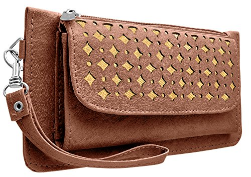 Tap Fashion Fancy Stylish Elegance Fashion Synthetic Dark Brown Handmade Wallet/ Clutch/ Purse for Girls and Women.  available at amazon for Rs.298