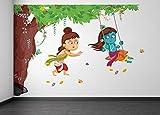#10: Rawpockets Decals 'Lord Krishna Playing Swing under Tree' Wall Sticker - (PVC Vinyl, 105 cm x 75 cm, Multicolour)