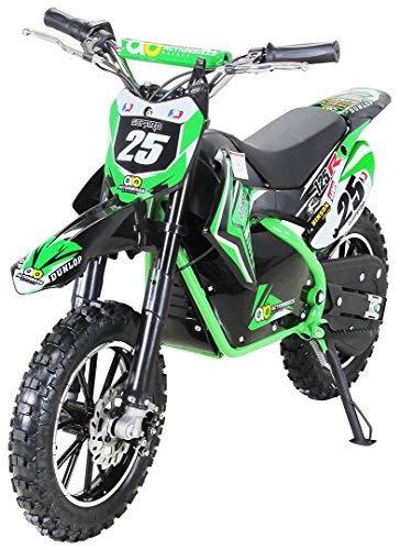 "Kinder Mini Elektro Crossbike\""Gepard\"" 500 Watt verstärkte Gabel 36 Volt Enduro Motorcrossbike Pocketbike (Grün)"
