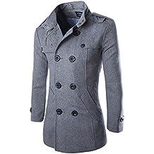 Hombres Otoño Invierno Doble fila Botón Abrigo Top Blusa Chaqueta Hombres Jacket Outerwear ...