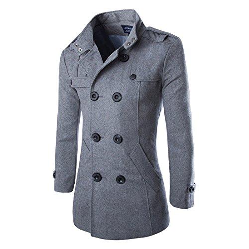 Uomini autunno inverno doppia fila tasto di collare di lana del cappotto (grigio, eu m(tag l))
