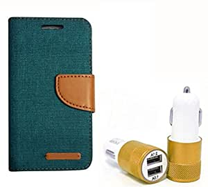 Aart Fancy Wallet Dairy Jeans Flip Case Cover for LenovoA-6000 (Green) + Dual USB Port Car Charger with Smartest & Fastest Technology by Aart Store.