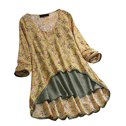 MRULIC Damen Fledermaus Hemd Lässig Locker Top Dünnschnitt Bluse Frühling T-Shirt Leinenbluse Freundin(C1-Gelb,EU-44/CN-2XL) -