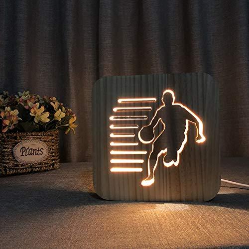 LED Schreibtischlampe 3D Illusion Lampe Basketball Teenager Form Hölzerne Nachtlicht Bettdecke Light Eye Care Arbeitslicht Studieren Lampe Geschenk Für Kinderschlaf Zimmer -