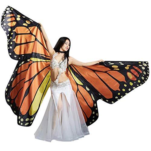 Schmetterling Kostüm,ZHANSANFM Damen Bauchtanz Flügel Dance Spezielle Wasserdichte Große Schmetterlingsflügel mit Sticks für Cosplay Show Daily Party Halloween Tanz Zubehör (23 * 16cm, Kaffee) (Leicht Zu Machen Kostüm Für Paare)