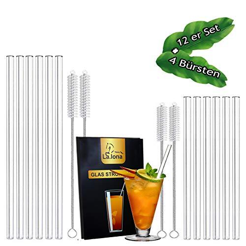 La.lona Umweltschonende Glasstrohalme im 12er Set,100% plastikfrei,kälte-und hitzebeständig, inkl 4 Reinigungsbürsten - Reinigungstuch und Samt Säckchen, Trinkhalme für kalte und heiße Getränke