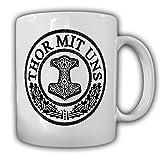 Thor con nosotros Thors Martillo Mjolnir Vikingo Dios germanen WH WK estabilizadora Odín Sohn Taza de café # 13975